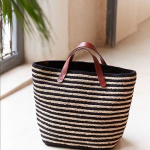 Sezane crocheted summer raffia striped tote bag